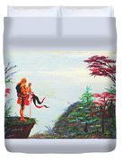 Knight On A Cliff Duvet Cover