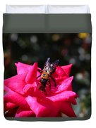 Knockout Rose And Bumblebee Duvet Cover