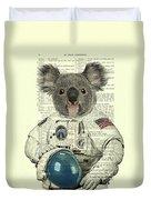 Koala In Space Illustration Duvet Cover