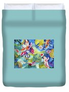 Koi And Two Waterlilies Flowers Duvet Cover