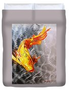 Koi Fish Aluminum Print, Unique Gift For Any Home Or Office. 'the Silver Koi'. Duvet Cover