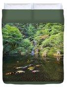 Koi Fish In Waterfall Pond At Japanese Garden Duvet Cover