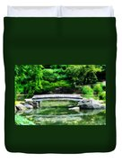 Koi Pond Bridge - Japanese Garden Duvet Cover