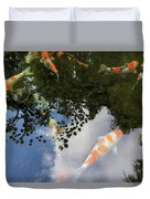 Koi Pond Reflection Duvet Cover