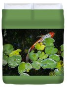 Koi With Lily Pads A Duvet Cover