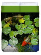 Koi With Lily Pads D Duvet Cover