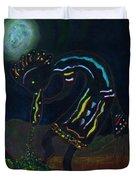 Kokopelli In Moonlight Duvet Cover