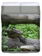 Komodo Dragon Climbing Over A Fallen Tree Duvet Cover