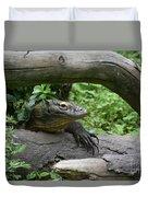 Komodo Dragon Creeping Through Two Fallen Logs Duvet Cover