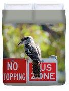 Kookaburra On A Road Sign Duvet Cover