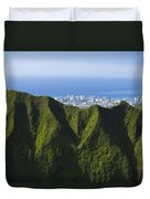 Koolau Mountains And Honolulu Duvet Cover