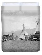 Kootenai First Nations Camp, C.1920-30s Duvet Cover