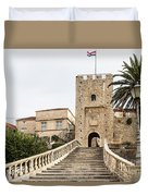 Korcula Old Town Stairs Duvet Cover