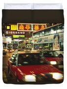 Kowloon Street Scene At Night With Neon Duvet Cover