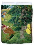 Krishna Fluting The The Milkmaids Duvet Cover