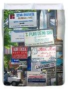 Kuta Street Signs -- Bali Duvet Cover