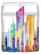 Kuwait City Landmarks Watercolor Poster Duvet Cover