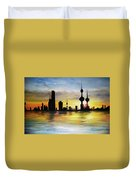 Kuwait City Sunset From The Bay Duvet Cover