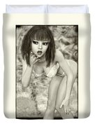Kylie - Cute And Sassy - Black And White Classic Duvet Cover