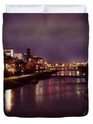 Kyoto Nighttime City Scenery Of Kamo River With Street Lights Re Duvet Cover