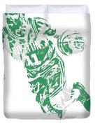 Kyrie Irving Boston Celtics Pixel Art 9 Duvet Cover