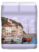 La Barca Rossa Alla Calata Duvet Cover