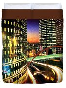 La Defense By Night - Paris Duvet Cover