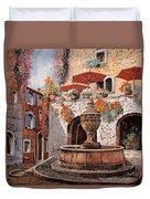la fontana a St Paul de Vence Duvet Cover by Guido Borelli