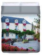 La Gacilly, Morbihan, Brittany, France, Town Hall Painting Duvet Cover