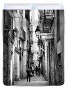 La Rambia Bw Street Gothic Quarter Narrow People  Duvet Cover