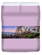 L A Skyline With Griffith Observatory - Panorama Duvet Cover