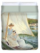 Ladies In A Sailing Boat  Duvet Cover