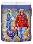 Lady  And Dog Duvet Cover