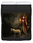 Lady And The Wolf Duvet Cover