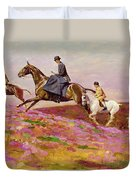 Lady Currie With Her Sons Bill And Hamish Hunting On Exmoor  Duvet Cover