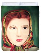 Lady In A Scarf Duvet Cover