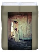 Lady In An Old Abandoned House Duvet Cover by Jill Battaglia