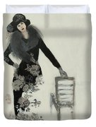 Lady In Black With Flowers Duvet Cover by Susan Adams