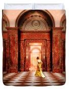 Lady In Golden Gown Walking Through Doorway Duvet Cover