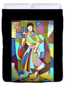 Lady In Mosaic Duvet Cover