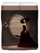 Lady In Red Dress Duvet Cover
