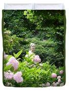 Lady In Salzburg Garden Duvet Cover
