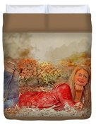 Lady In The Leaves 1 Duvet Cover