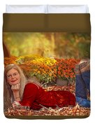 Lady In The Leaves Duvet Cover