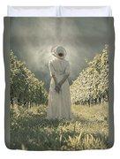 Lady In Vineyard Duvet Cover