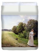 Lady In White Reading  Duvet Cover