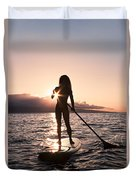 Lady Paddling Duvet Cover by Dave Fleetham - Printscapes