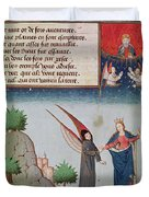 Lady Philosophy Leads Boethius In Flight Into The Sky On The Wings That She Has Given Him Duvet Cover