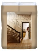 Lady Standing In A Doorway Duvet Cover