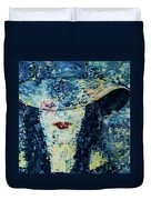 Lady Wears A Hat In Blue Duvet Cover
